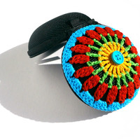 Crochet Mandala Coin Purse - Yellow, Neon Green, Red And Turquoise, Turquoise Button, Black Base