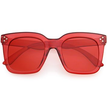 Kids Color Tinted Retro Oversized Square Sunglasses for Children D201