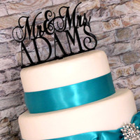 Personalized Custom Mr and Mrs Wedding Cake Topper with YOUR Last Name
