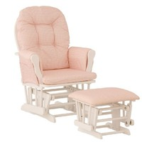 Stork Craft Hoop Glider and Ottoman, White/Pink Gingham