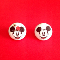 """Handmade Vintage Classic Minnie and Mickey Mouse inspired earring set - Disney Inspired - Disney Art Fabric Earrings 3/4"""""""