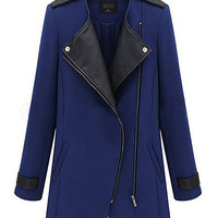 'The Serena' Blue Zippered Patchwork Cardigan