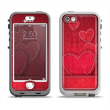 The Pocket with Red Scratched Hearts Apple iPhone 5-5s LifeProof Nuud Case Skin Set