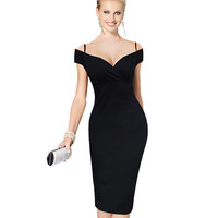 Nice-forever New Sexy Elegant Solid Stylish Casual Work Strap Slash Neck Bodycon Knee Midi Women Formal Pencil Dress