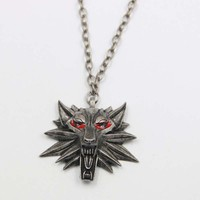 2016 hot sale pendant master of the Witcher 3 medallion necklace wolf head necklace choose color Halloween necklace and pendants