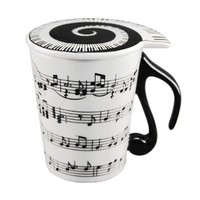 SDBING Musician Coffee MUG with Lid Staves Music Notes