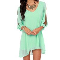 Women Summer Sexy Off Shoulder V-neck A-line Mini Strapless Loose Casual Dress (S, Green)