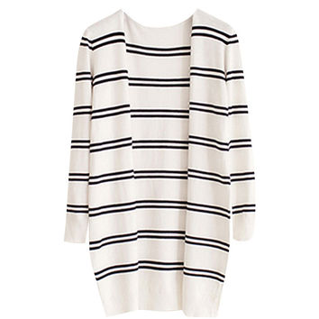 Stripe Knitted Long Sleeve Open Front Cardigan