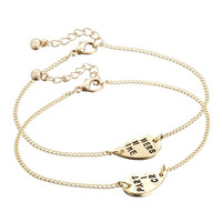 Best Friends Heart Chain Bracelet Pack