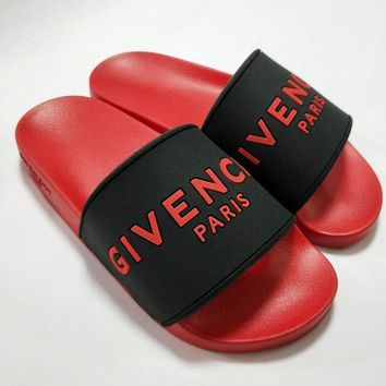 Givenchy Summer Fashion Woman Men Casual Couple Beach Sandals Slipper Shoes Black/Red