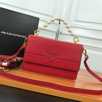 HCXX 19June 505 Prada Milano Pearl Belt Flipping double barrier Inclined shoulder bag 23-15-7 red