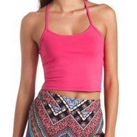 Cotton Racerback Crop Top by Charlotte Russe
