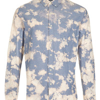 BLUE BLEACH TIE DYE CHAMBRAY LONG SLEEVE SHIRT - Sale - TOPMAN USA