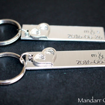 Custom Initials and Anniversary Date Keychain for Couples, His Hers, Relationship Accessory with Heart Charms, Fully Personalized Gift