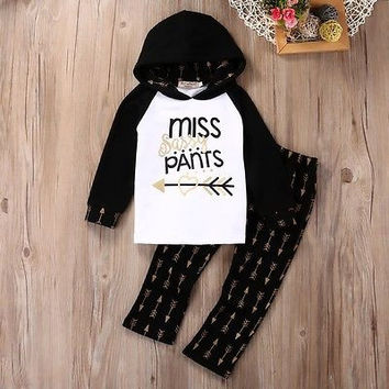 Toddler Kids Baby Girl Clothes Arrow Hooded Tops+Pants Leggings Outfits 2PCS Set  Baby costumes