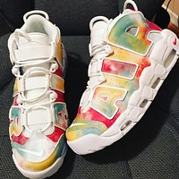 Nike Air More Uptempo 95 UK rainbow rendering atmospheric cushion cushioning sneakers shoes