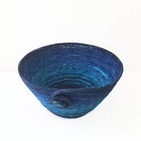 Blue Ombre Coiled Fabric Bowl, Basket