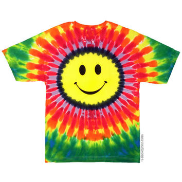 Smile Face Tie Dye T Shirt on Sale for $17.95 at HippieShop.com