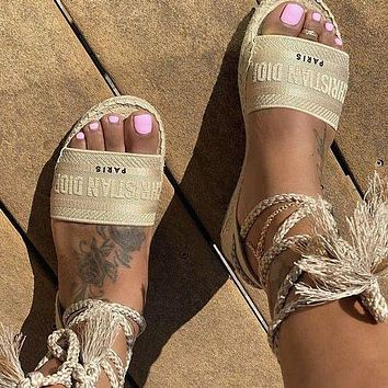 DIOR Popular Women Retro Canvas Embroidery Sandals Shoes Apricot