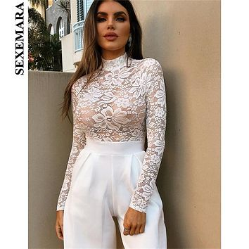 SEXEMARA White Lace Embroidery Sexy Long Sleeve Bodysuit Women See Through Bodysuits Leopard Top Nightclub Body Suit C66-AZ56