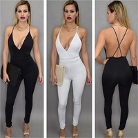 Women's Fashion Summer Sexy Spaghetti V-neck Sleeveless Cross Backless Jumpsuit Long Rompers = 5658802945