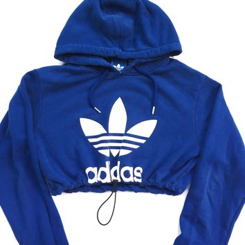 Reworked Adidas Crop Hoody Blue
