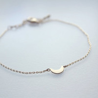 tiny moon - dainty, minimalist, simple gold bracelet / gift for her under 20usd