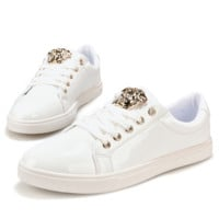 White VERSACE Embroidered Canvas Shoes