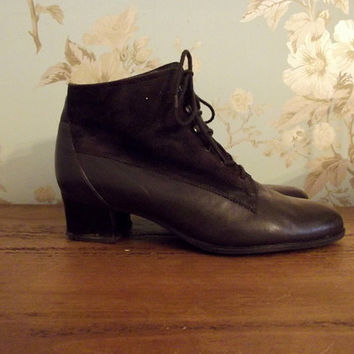 womans ankle boots leather suede chocolate brown lace up small heel ladies victorian inspired