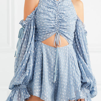alice McCALL - Did It Again cold-shoulder gathered fil coupé georgette playsuit