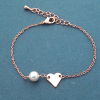 Heart to Heart, white, Pearl, Rose gold, Bracelet, Birthday, Best friends, Sister, Gift, Jewelry