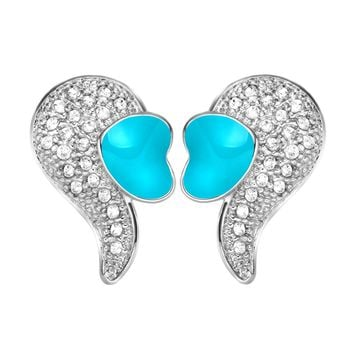 Magical Cute Angel Wings with Sky Blue Hearts White Sparkling Crystals Silver-Tone Amulet Earrings