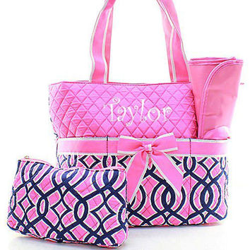 Monogrammed Pink and Navy Diaper Bag  Personalized Diaper Bag