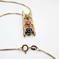 "Lovely Asian Style Multi Stone Pendant, Sterling Silver with Gold Wash, Vermeil Finish on an Italian 18"" Vermeil/925 Box Chain"