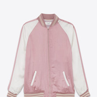 SAINT LAURENT OVERSIZED TEDDY JACKET IN VINTAGE PINK AND WHITE SATIN VISCOSE | YSL.COM