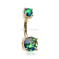 Golden Opal Sparkle Prong Set Belly Button Ring (Black)