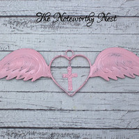 Pink Angel Wings // Heart and Cross // Nursery Decor // Girls Bedroom Decor // Wing Wall Hanging // Pink Wall Decor // Gift for Girls
