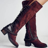 New product thick gao heel hind bind take tall boots female