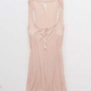 Aerie Real Soft® Ribbed Henley Tank, Naive Pink