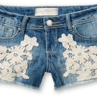 Almost Famous Abby Crochet Medium Wash Denim Shorts