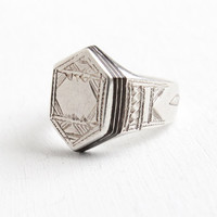 Antique Art Deco Sterling Silver Black Enamel Ring - Rare Early 1920s Size 6 1/2 Etched Geometric Line Statement Jewelry