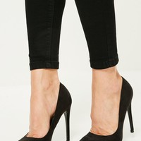 Missguided - Black Faux Suede Pointed Toe Court Shoes