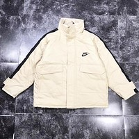 NIKE Autumn And Winter New Fashion Bust Letter Hook Print And Back Letter Hook Print Women Men Keep Warm Long Sleeve Top Jacket Coat Beige