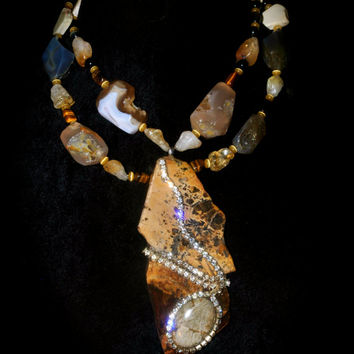 Multi Gemstone Lapidary Statement necklace By Josette Redwolf as seen on DECO DRIVE TV