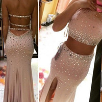 2016 Two Pieces Jersey Prom Dresses Pink Beading Bodice Jersey Skrit And High Slit On Front Sexy Backless Evening Gowns