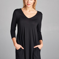Casual Pocket Shift Dress-Black