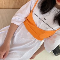 """""""Nike"""" Women's Fashion Comfortable Wild Long Sleeve Long Section Letter Pattern Tops Two-Piece Set"""