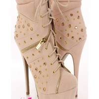 Nude Faux Suede Grommet Studded Booties