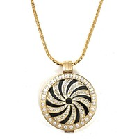Stainless Steel Coin Holder Locket Gold Plated and Crystals Set of 3 Pieces