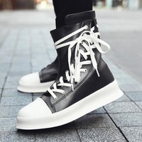 Harajuku Luxury brand Hip-hop boots dancing casual sneakers  Fashion military martin Boots High Top cross tied kanye West Boots